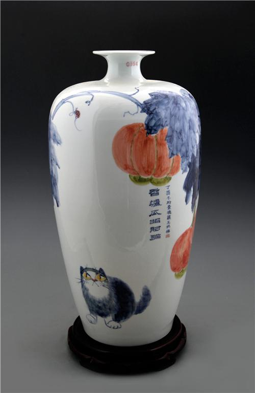 王纯祥《千猫瓶》大口梅瓶·青花瓷招财猫瓶之三