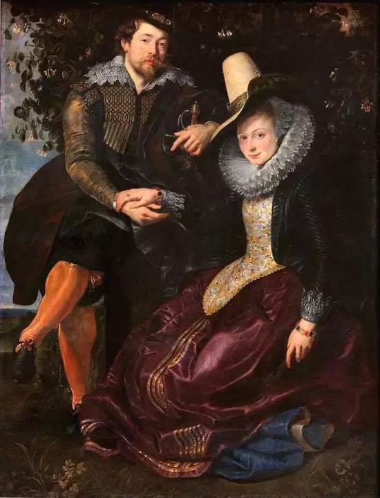 彼得・保罗・鲁本斯《忍冬树下的鲁本斯和妻子伊莎贝拉》1609年 油画 @慕尼黑古代绘画陈列馆