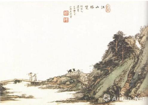 启功收藏的吴镜汀《江山胜览图》(局部)