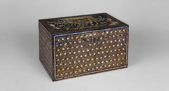 楼阁与人物螺钿文箱,中国明代,13-14世纪?根津美术馆