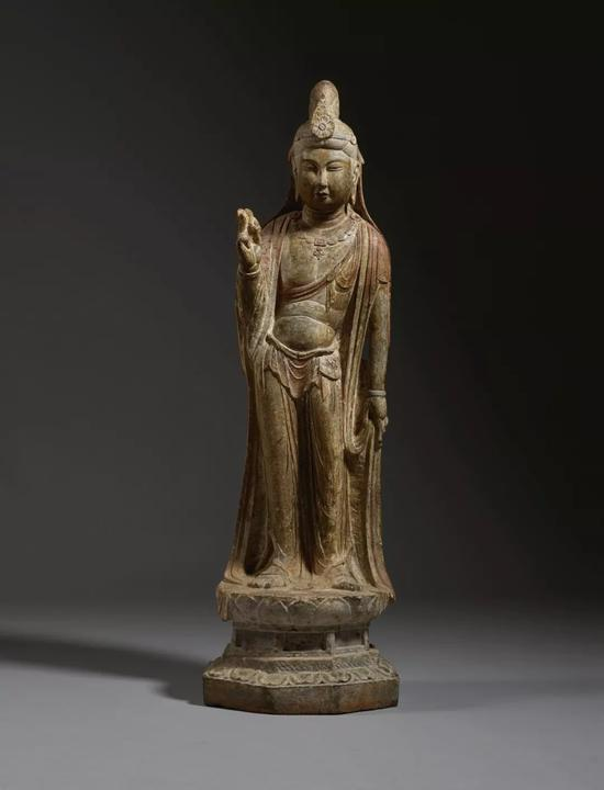 〔唐〕石灰石雕菩萨立像