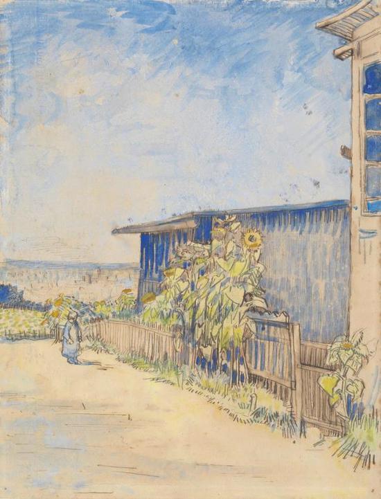 梵高,《棚上的向日葵》,1887年8-9月巴黎,阿姆斯特丹梵高美术馆藏
