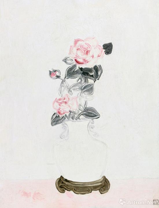 常玉《白瓷瓶中的粉红玫瑰》布面油画 65×49.5cm 1931年 成交价:1932万元