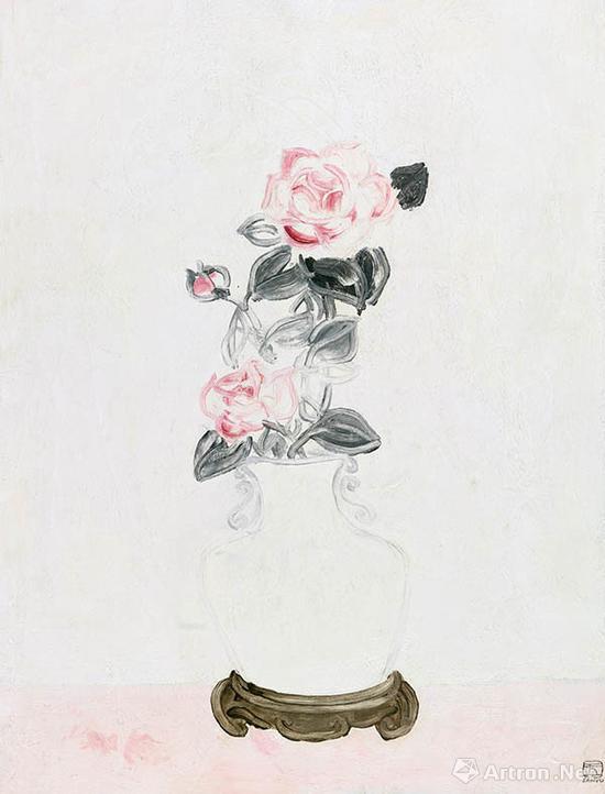 常玉《白瓷瓶中的粉红玫瑰》1931年布面 油画 65×49.5cm