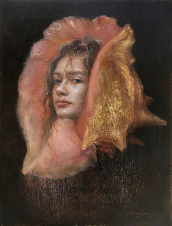 王俊《海的女儿》35×45cm油画