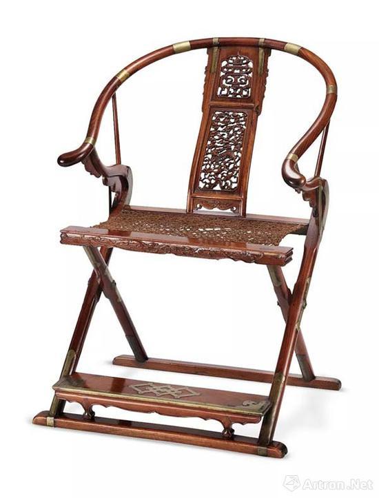5405明末清初黄花梨麒麟寿字纹圈背交椅