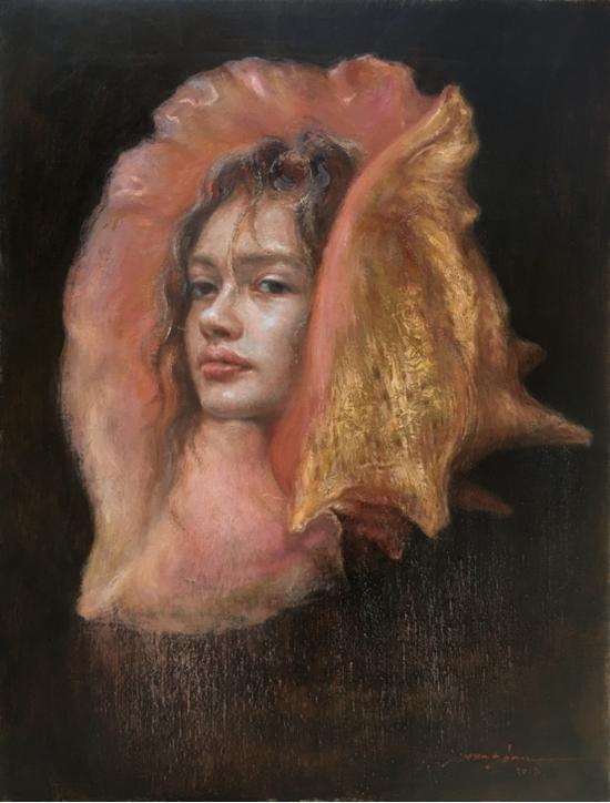 王俊《海的女儿》35×45cm