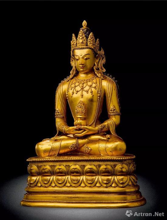 NO27蒙古17-18世纪 铜鎏金无量寿佛