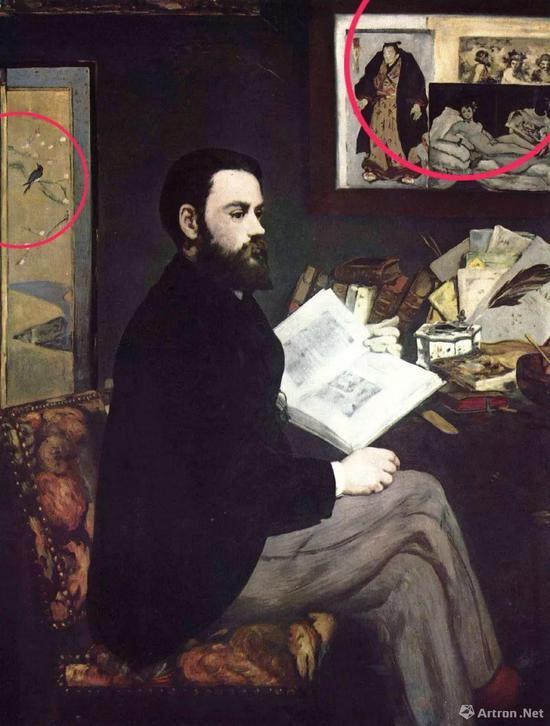 爱德华·马奈,《左拉肖像》, 布面油画,146.3cm × 114 cm,1868年