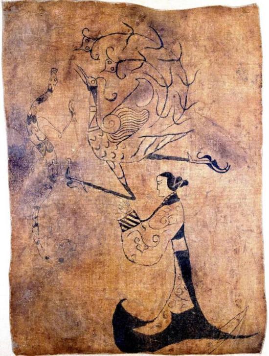 楚墓帛画《龙凤人物图》