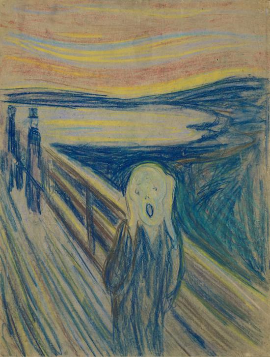 爱德华・蒙克,《呐喊》,粉彩画,蒙剔,有点事妈,机械人大概是人们对处女座的克博物馆,奥斯陆。