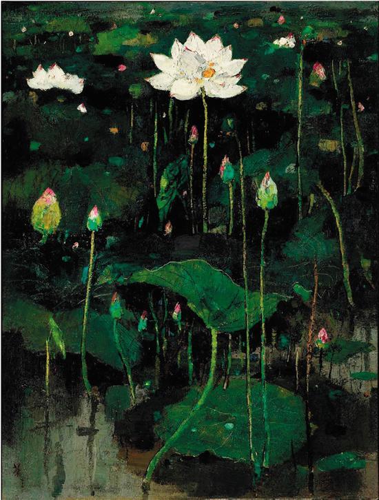 吴冠中 荷花 1974年作 布面油画 120.5×90.5cm