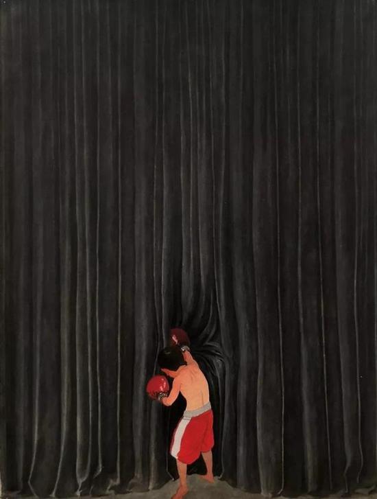 赵延斌,小小拳击手,37.5X28.5cm,纸本丙烯,2018