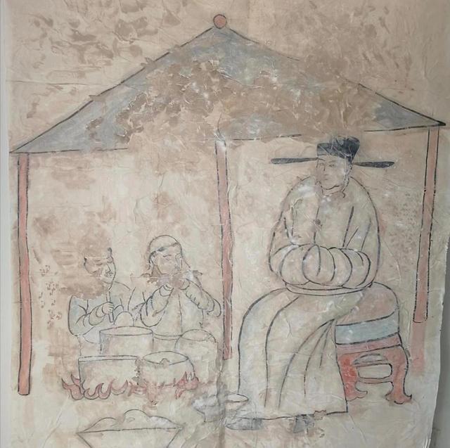 内蒙古新发现的辽墓壁画《烹饪图》。敖汉旗文化旅游体育局供图