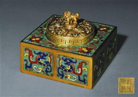 清乾隆御制铜胎掐丝珐琅夔龙纹墨盒,香港苏富比拍卖成交价140.64万港元