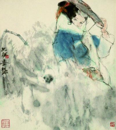 雨中少女(国画)52×46.5厘米上世纪80年代周思聪上海中国画院藏