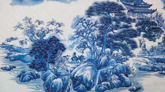 珠山八友之一 何许人青花山水瓷板画