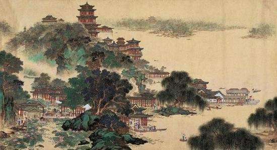 何镜涵 《颐和园》 96×177cm 纸本设色 1961年 北京画院藏