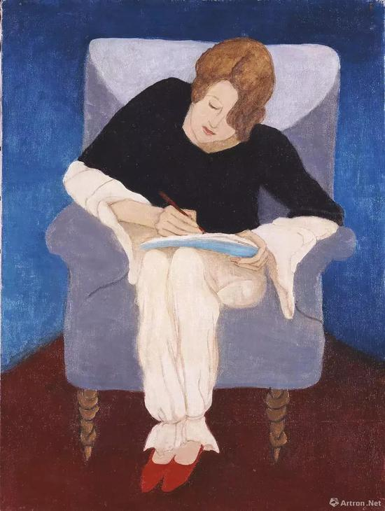 加布里埃勒·穆特《坐在扶手椅上写字的女士》