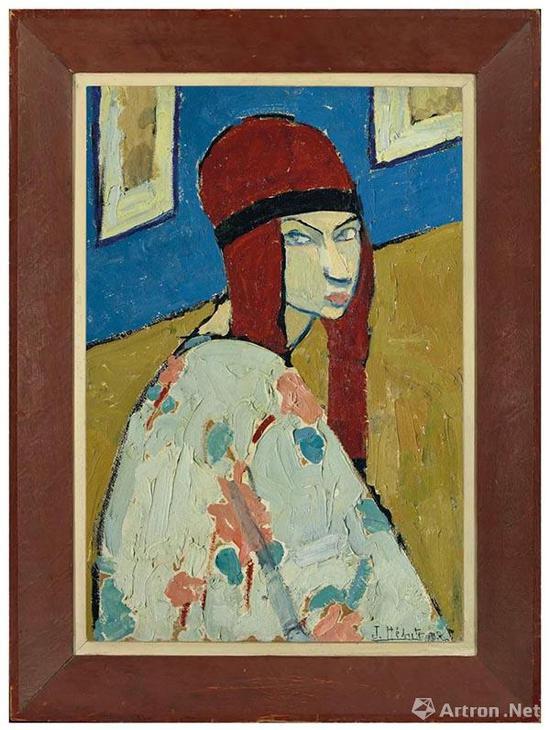 拍品编号154 珍妮·赫布特尼 (1898-1920) 《自画像》 油彩 画板 艺术家画框