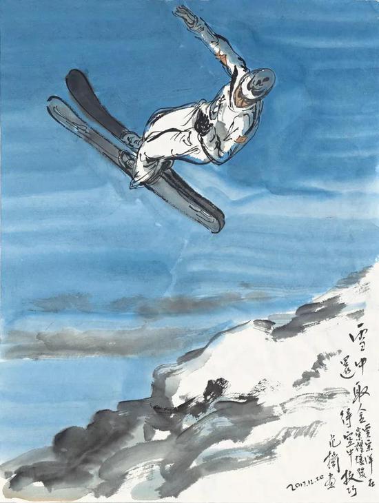 范扬  贾宗洋雪中取金还  45.8cm×34.5cm  纸本设色  2017年
