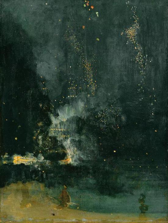 詹姆斯·惠斯勒《黑与金的夜曲─落下的烟火》约1872-1877年作 美国 底特律 底特律艺术博物馆藏