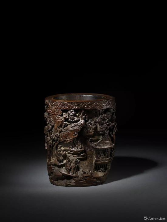 Lot116 清早期 竹雕山林书院图纹笔筒
