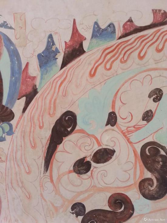 莫高窟第285窟北壁忍冬禽鸟龛楣现状临摹(山形局部)彭文佳
