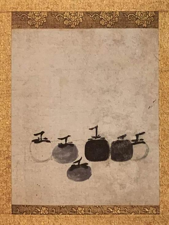 牧溪《六柿图》册,纸本,水墨画,纵35.1厘米,横29厘米。