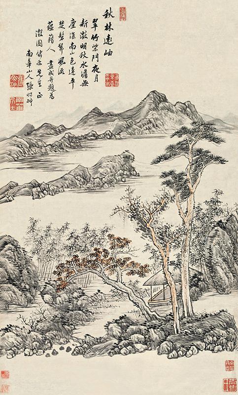 张鹏翀《秋林远岫》轴,纸本设色,84厘米×50.3厘米