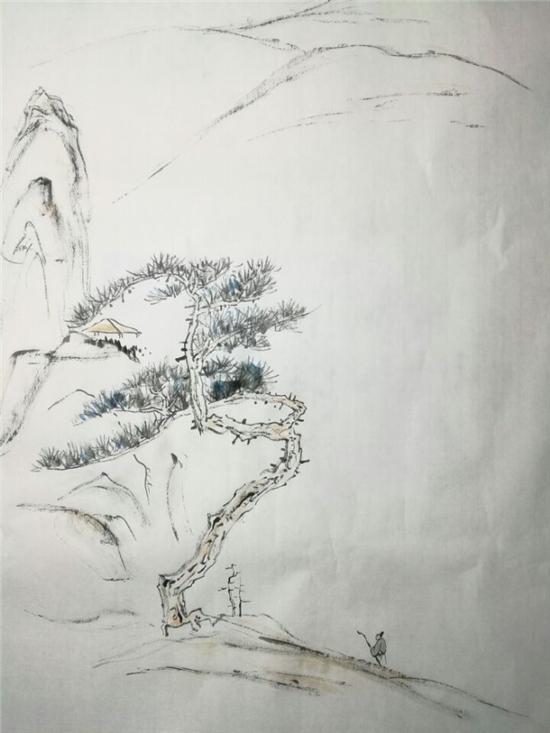 邵光亭先生作品《策杖行吟图》,水墨,纸本