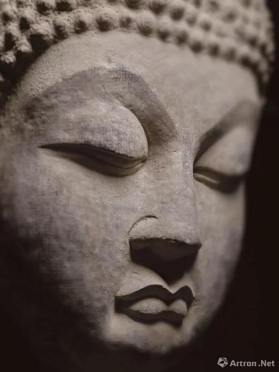 唐 石灰石雕佛首像