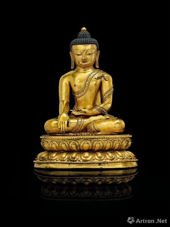 NO.31西藏 十五世纪 鎏金铜释迦摩尼佛坐像