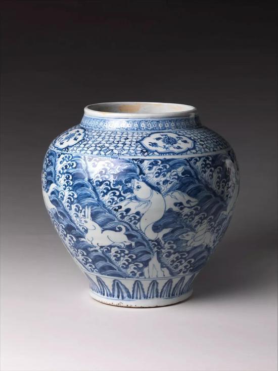 明正统-天顺青花海水瑞兽纹罐 美国大都会艺术博物馆(The Metropolitan Museum of Art)藏