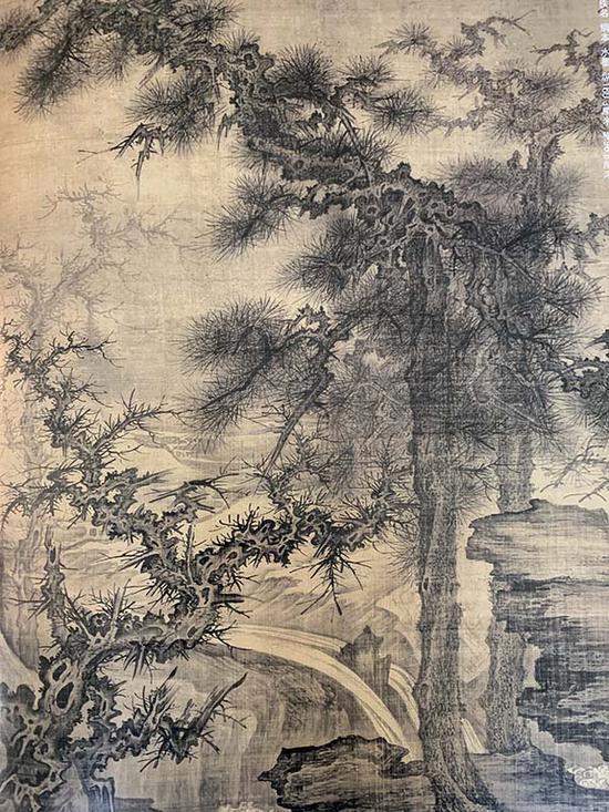 宋 佚名 《松泉磐石图轴》(局部) 绢本水墨