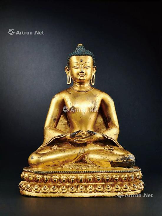 NO.37 14世纪 释迦牟尼铜鎏金、白毫嵌珍珠