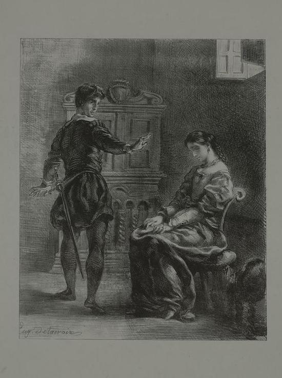 欧仁·德拉克洛瓦,《哈姆雷特和奥菲莉亚》石版画