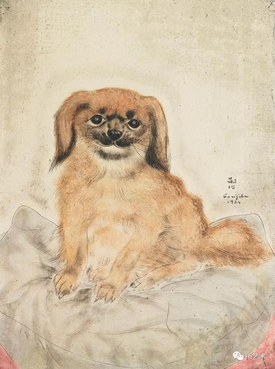 藤田嗣治 Tsuguharu Foujita 《北京狗》33.2x24.1cm 布面油画 1924