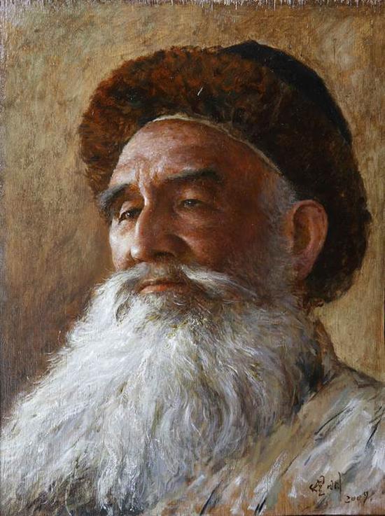 李煜明《新疆老人》31×40cm油画2009年