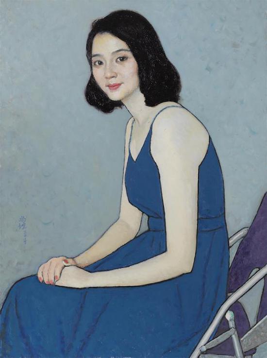 靳尚谊《穿蓝裙子的女士》,布面油画 ,75cm×56cm,2017年