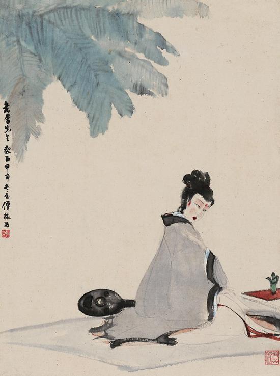 傅抱石为老舍先生创作的《湘君图》