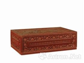 北京故宫藏剔红三狮图长方盒