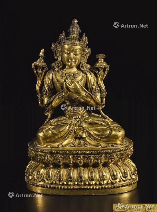 NO.26明永乐 铜鎏金文殊菩萨坐像