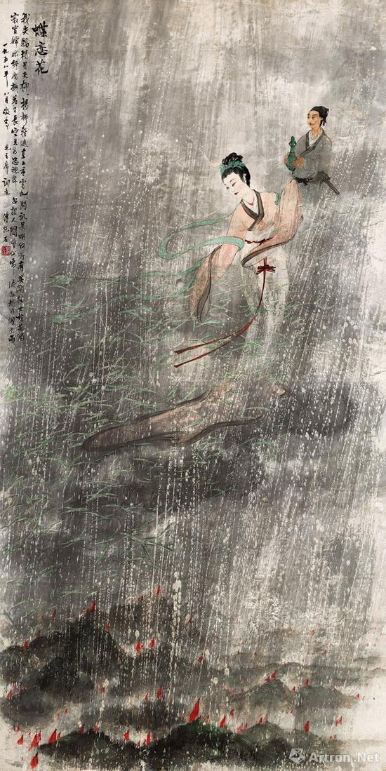 傅抱石 《蝶恋花》 立轴 设色纸本 167×84cm1958年作