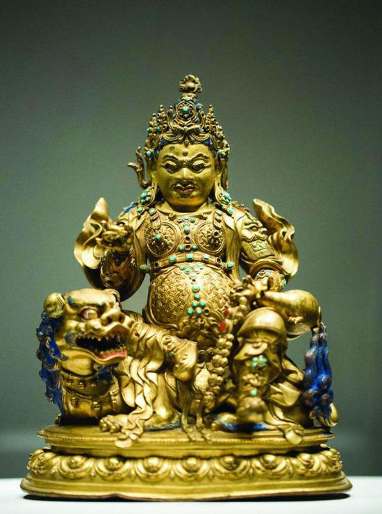 清代铜鎏金财宝天王像
