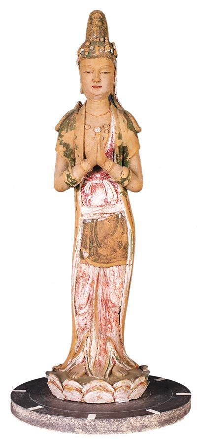 北宋彩塑菩萨立像,温州白象塔出土