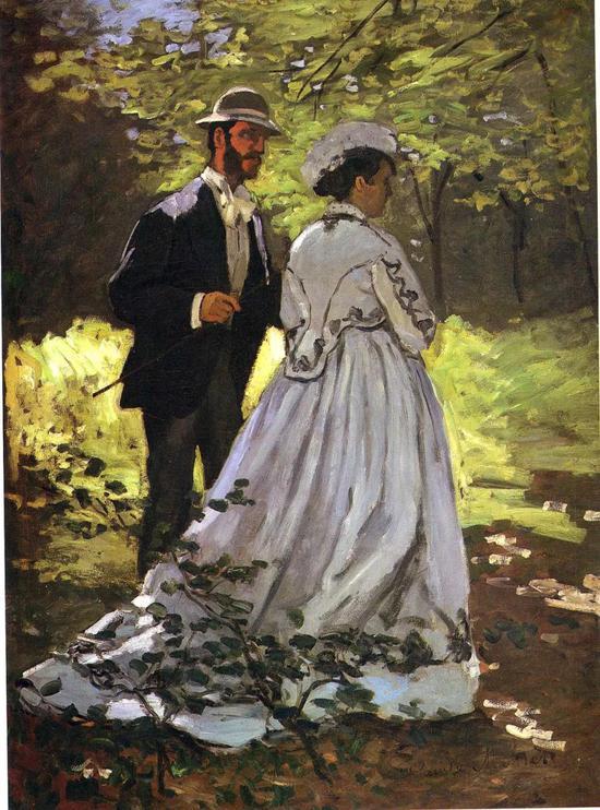 莫奈《草地上的午餐》,1865年(男模特为巴齐耶)