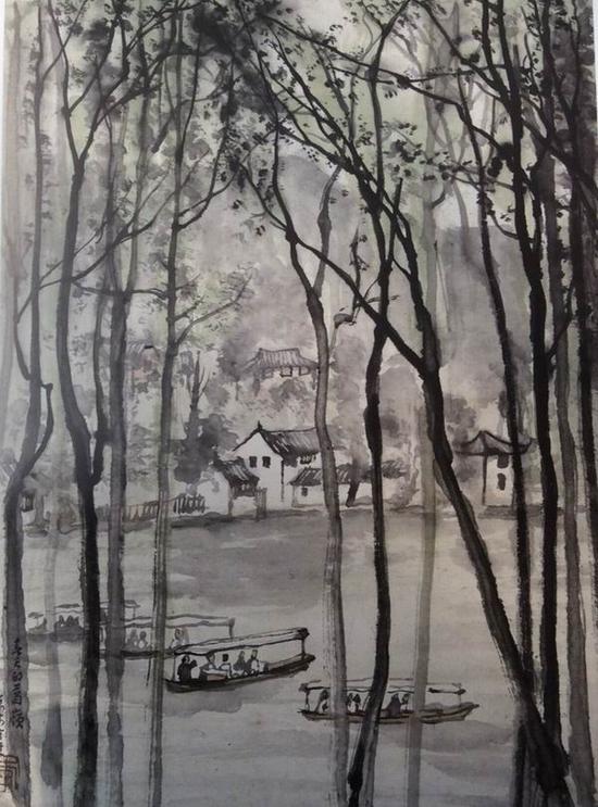 李可染,《春天的葛岭》,45x36cm,1956年