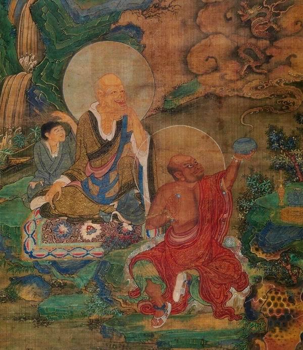 跋罗堕尊者、伽伐磋尊者(局部),明代,绢本