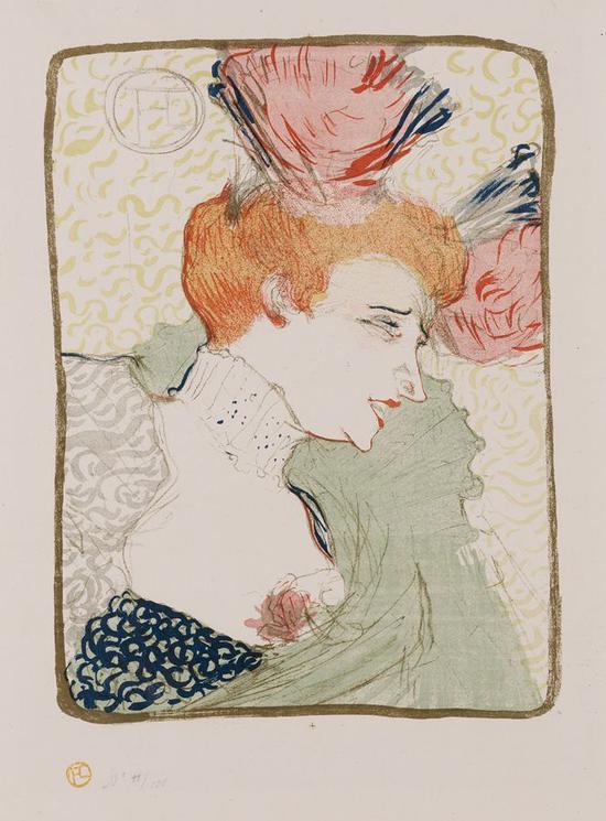 马塞勒-朗德小姐半身像 1895年 彩色石版画